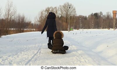 Mother dragging the sled with the child in cold winter day