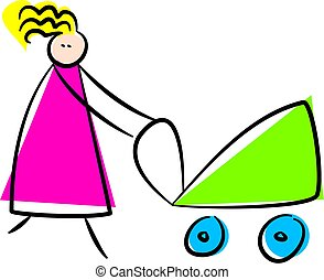 mother - whimsical drawing of a mother pushing buggy