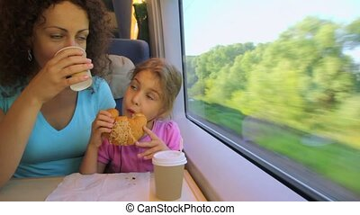 Mother drinks coffee and her little daughter eats marzipan when they travel in train near window