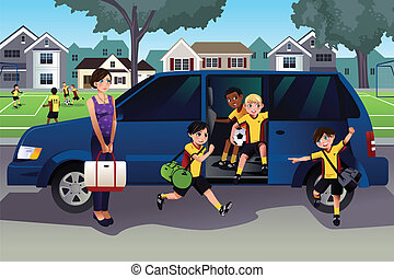 Mother driving kids to soccer practice - A vector...