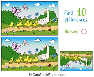 Mother duck and ducklings in a meadow with butterflies. Find 10 differences.