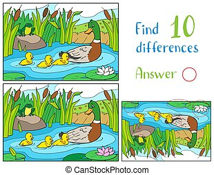 Mother duck and ducklings with frog on a pond. Find 10 differences