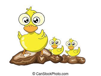 Mother duck and her ducklings vector cartoon