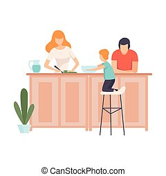 Mother, Father and Son Cooking Food In The Kitchen Together, Family in Everyday Life at Home Vector Illustration