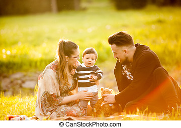 Mother, father and son in the park lying on the grass