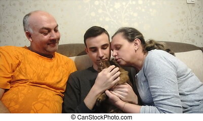 mother father and son playing with a cat,a happy family