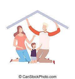 Mother, Father and Their Son at Home, House Frame with Happy Family Vector Illustration