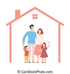 Mother, Father and Their Two Children at Home, House Frame with Happy Family Inside Vector Illustration