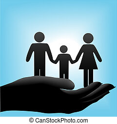 A family of mother, father, child symbols are held in a cupped hand on a blue background.