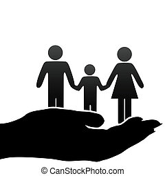 A family of mother, father, child symbols are held in a cupped hand.