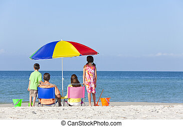 Mother Father Daughter Son Parents Children Family on Beach