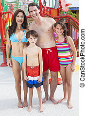 Mother Father Son Daughter Child Family Water Park