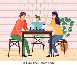 Mother, father, son together at home playing table game, happy family spend time at home or cafe