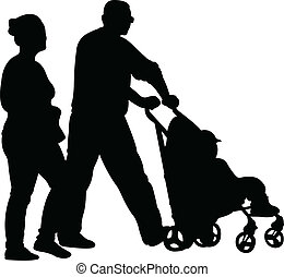 mother, father, son walking