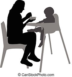 mother feeding baby in highchair - vector