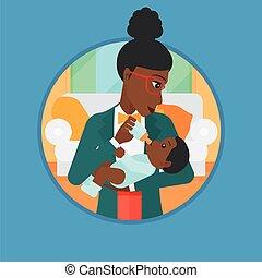 Mother feeding baby vector illustration. - An...