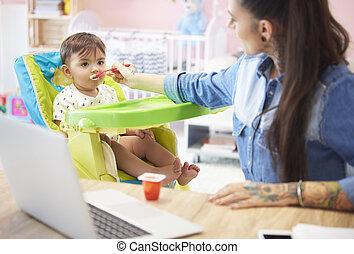 Mother feeding boy with yoghurt