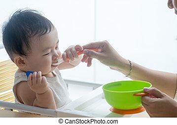 Mother feeding child.