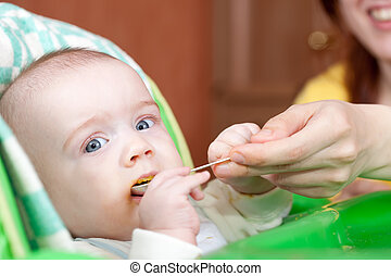 Mother feeding daughter with spoon