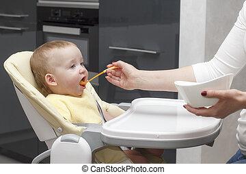 Mother feeding her son