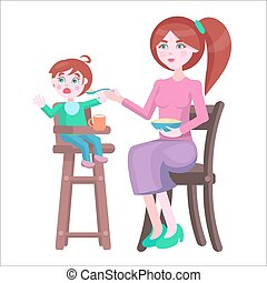 Mother Feeds Baby, Who Sits and Cries on Highchair - Young...