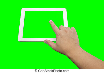 finger touch tablet screen on green