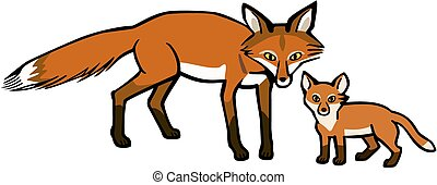 Mother Fox and Cub - vector illustration a mother fox and...