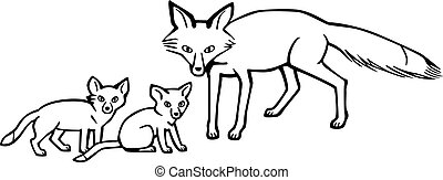 Mother Fox and Cubs - vector drawing of a mother fox and her...