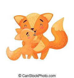 Mother fox with baby. Vector illustration on white background.