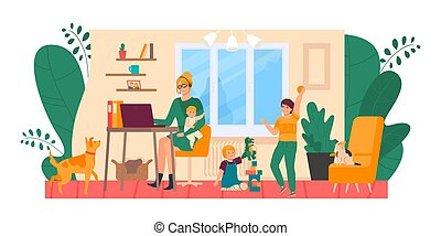 Mother freelance at home, stressed with kids vector illustration. Tired and annoyed woman at computer, children and pets make mess