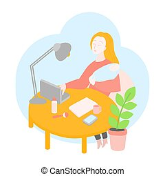 Mother freelancer. Stay at home working Mom office. Self-isolation, Quarantine is protection from coronavirus. Business woman working on a laptop with her baby. Education online service