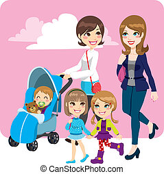 Mother Friends - Two mother friends pushing stroller walking...