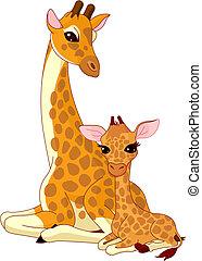 mother-giraffe, en, baby-giraffe