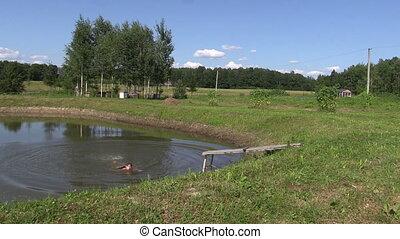 mother girl pond summer