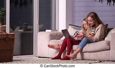Mother gives online shopping education to daughter
