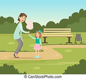 Mother giving cotton candy to her daughter while walking in summer park outside, family leisure vector illustration