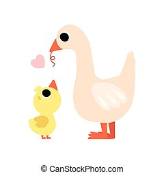 Mother Goose Feeding her Gosling, Cute Farm Birds Family...