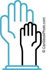 Mother hand care baby icon, outline style
