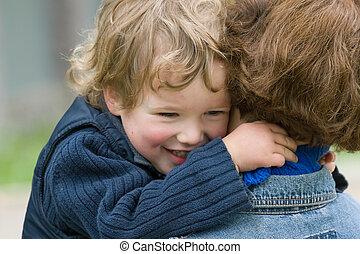 mother-happy, juntos, niño