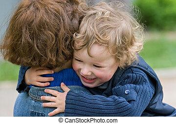 mother-happy, samen, kind
