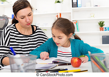 Mother Helping Daughter With Homework.