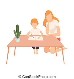 Mother Helping Her Son with Homework, Parent and Her Son in Everyday Life at Home Vector Illustration