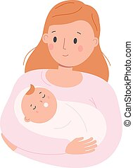 Mother hold little sleeping child. Mom with baby. Woman nurse toddler. Parenting character. vector clip art