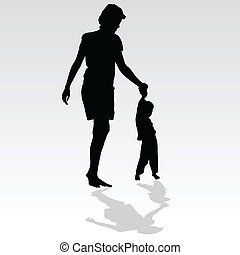 mother holding a child by the hand