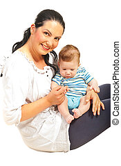 Mother holding baby boy
