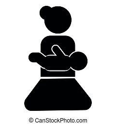 Mother holding baby on hand icon black color illustration flat style simple image