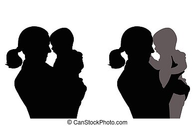 mother holding baby silhouettes