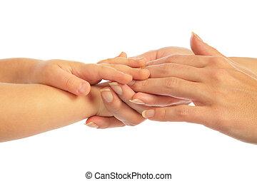Mother holding hand of children