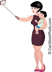 Mother holding her baby and making a photo selfie.