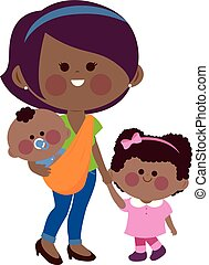 Mother holding her daughter?s hand and carrying her baby in a sling. Vector illustration